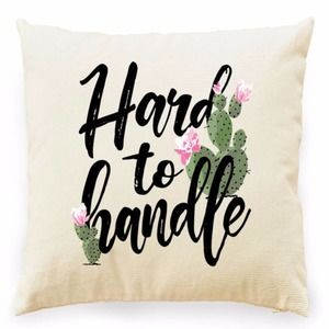 HARD TO HANDLE FLORAL CACTUS GRAPHIC PILLOW COVER